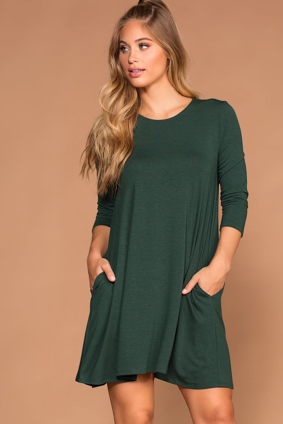 Hunter Green Swing Pocket Dress