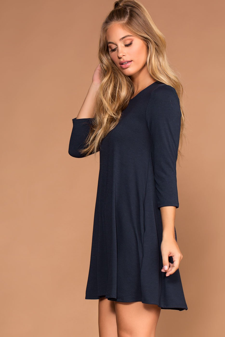 Dresses - Catching Leaves Swing Pocket Dress - Navy