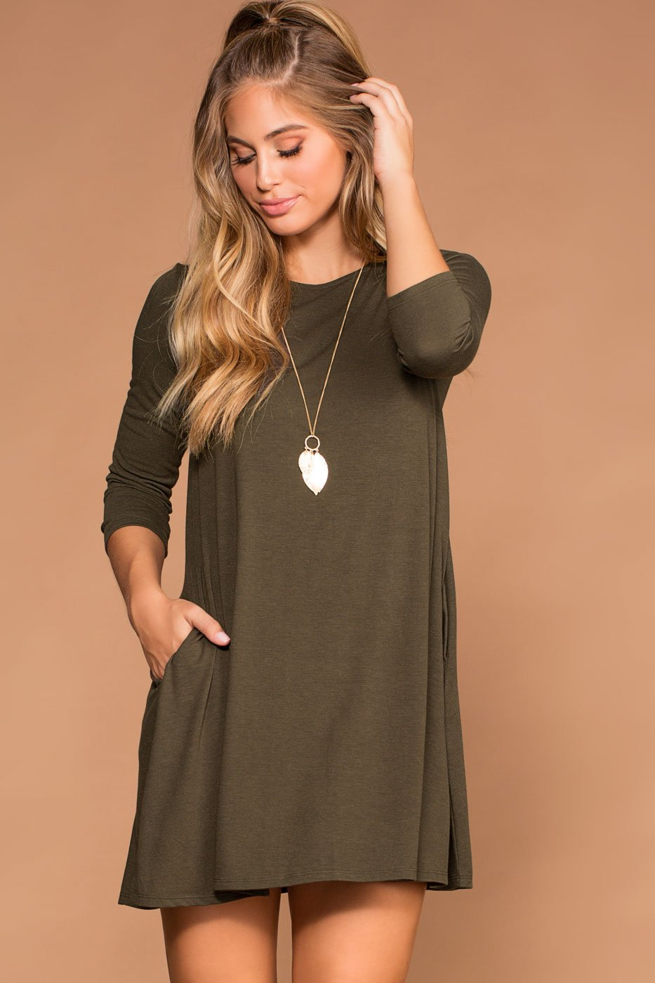 Dresses - Catching Leaves Swing Pocket Dress - Olive