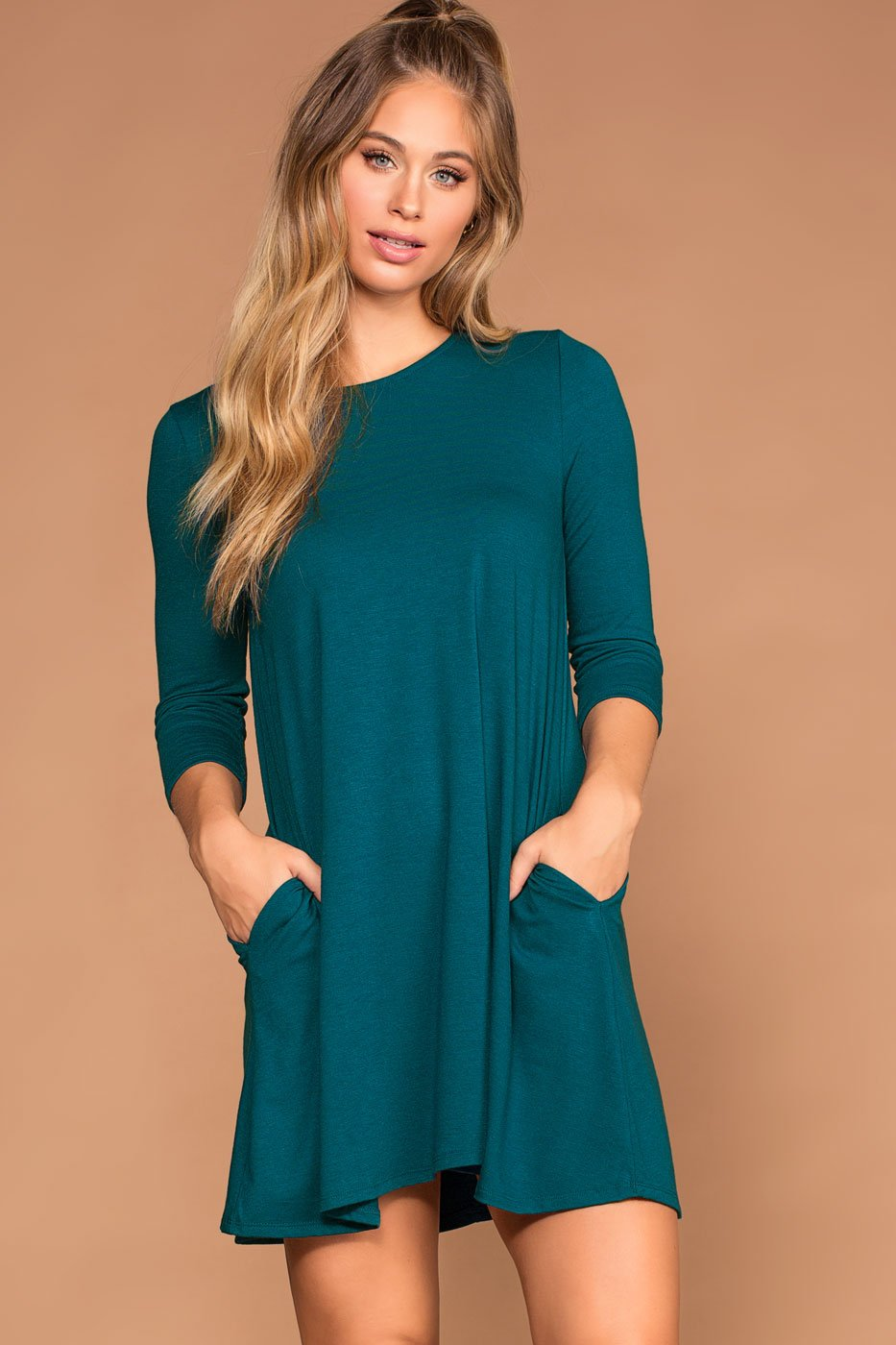 Dresses - Catching Leaves Swing Pocket Dress - Teal