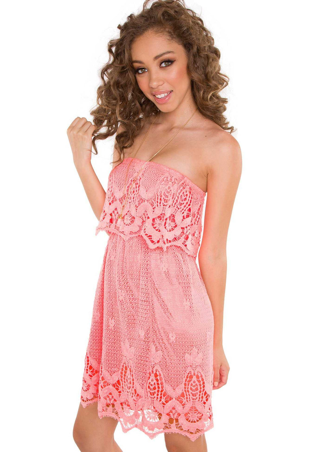 Dresses - Celia Lace Dress - Coral