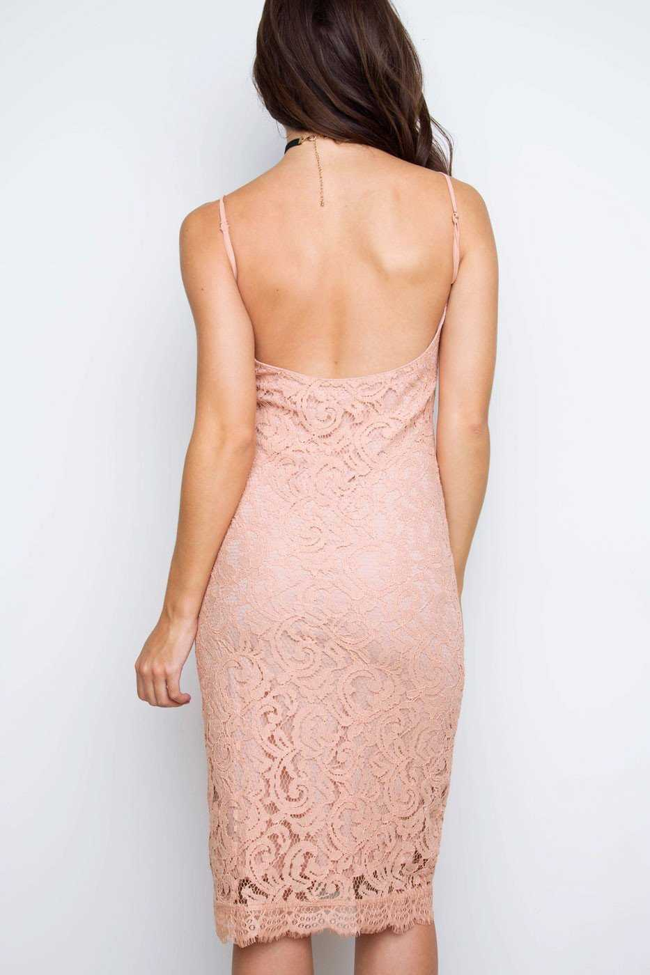 Dresses - Clare Nude Lace Dress