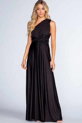 Epiphany Black Asymmetrical Organza Sleeve Dress