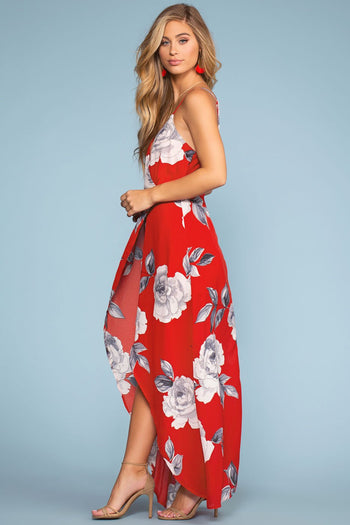 Dresses - Coastal Waves Floral Maxi Dress - Red