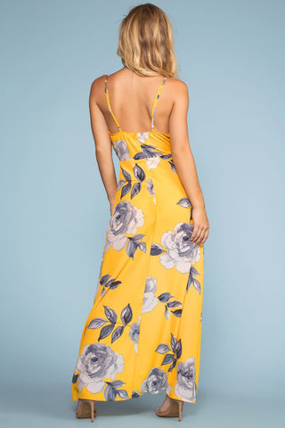 Dresses - Coastal Waves Floral Maxi Dress - Yellow