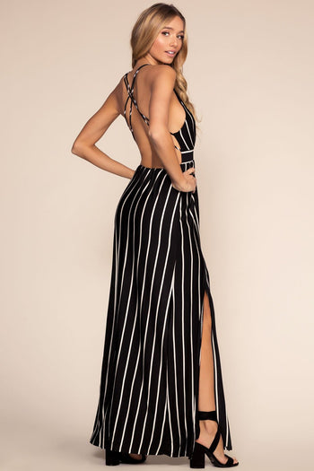 Black Striped Maxi Dress