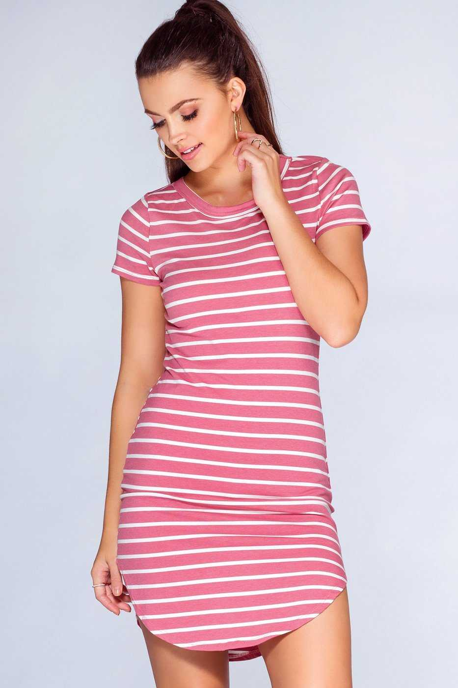 Dresses - Dahlia Basic Dress - Mauve Stripe