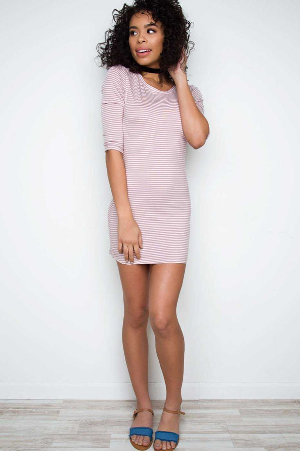 Dresses - Daria Striped Dress - Dusty Mauve