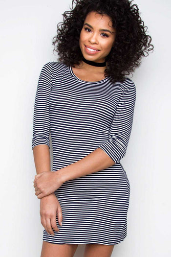 Dresses - Daria Striped Dress - Navy