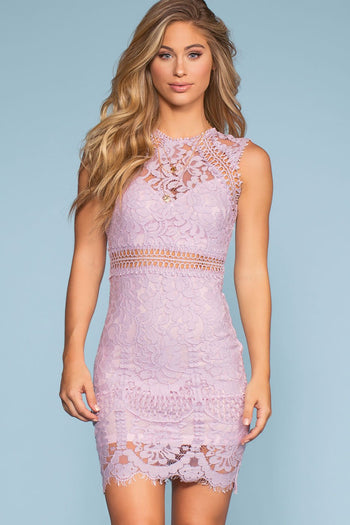 Lilac Lace Bodycon Dress