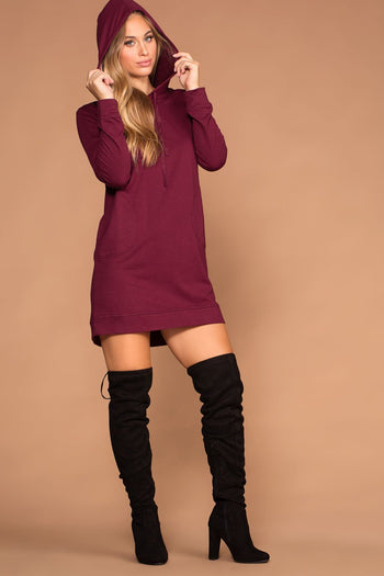 Dresses - Frankie Sweatshirt Dress - Burgundy