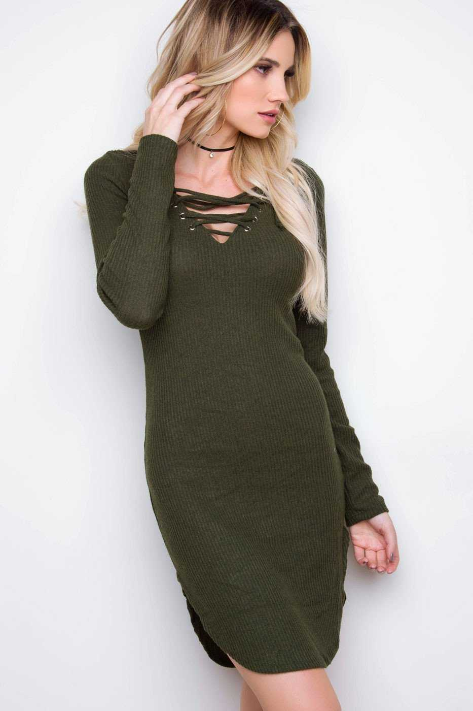 Frenzy Lace Up Dress Dark Olive