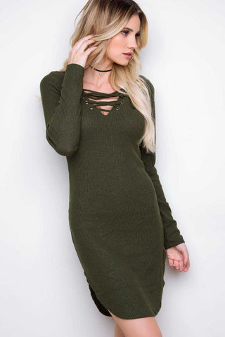 Rib Me Right Dress - Black