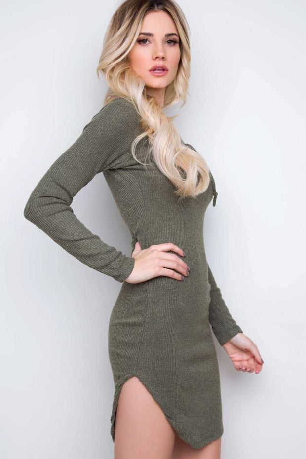 Dresses - Frenzy Lace Up Dress - Light Olive