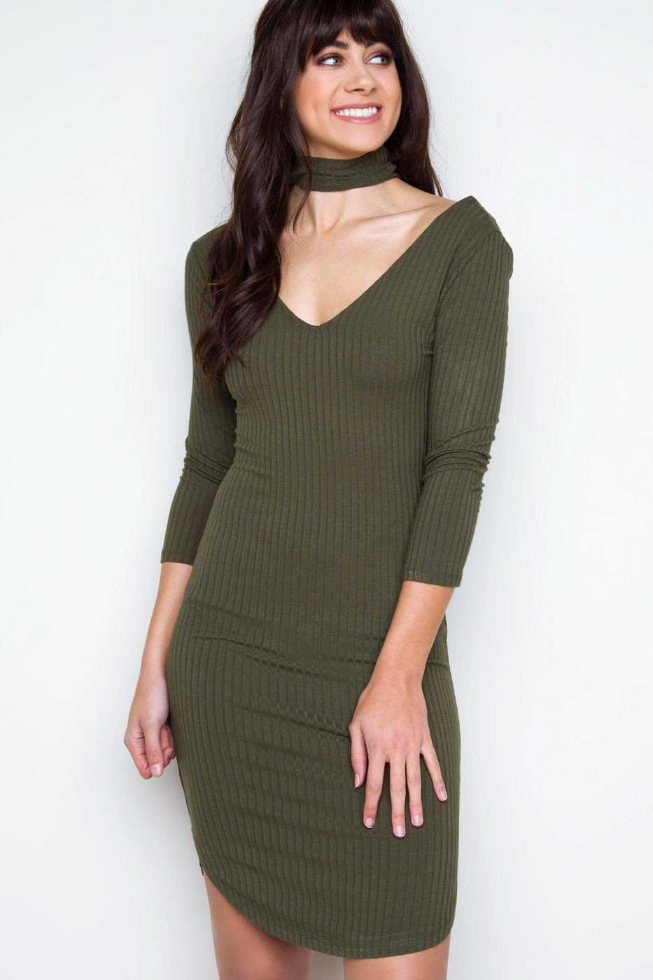 Girl Talk Choker Dress Olive