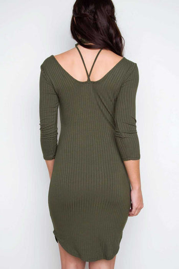 Dresses - Girl Talk Choker Dress - Olive