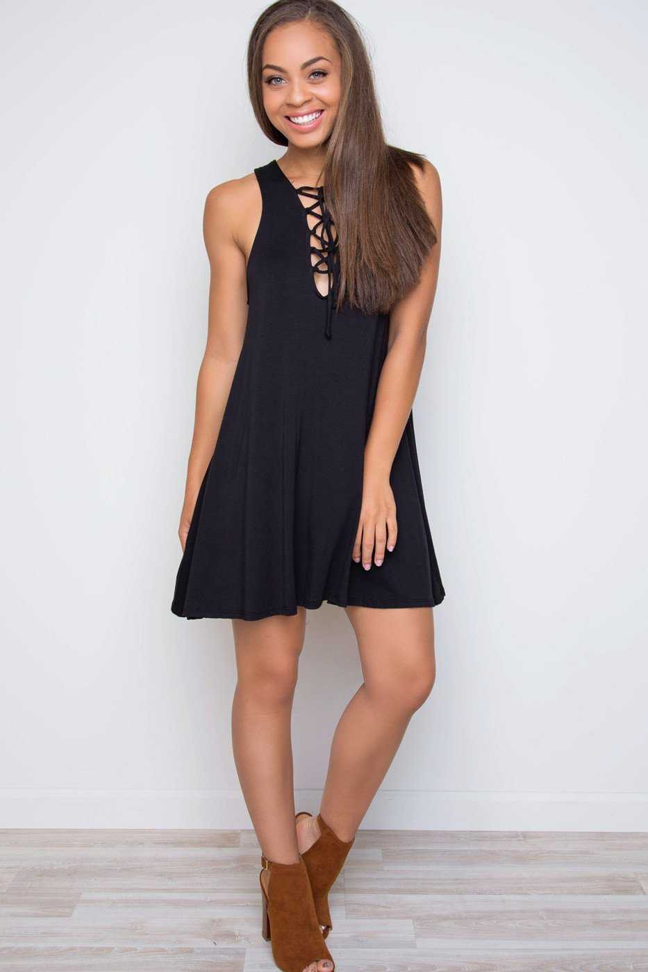 Dresses - Harlee Lace Up Dress - Black