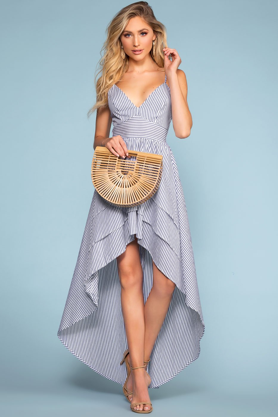 Dresses - High Tide Stripe Hi-Low Maxi Dress