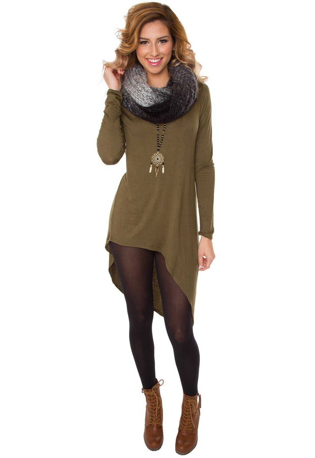 Dresses - Jaslene Tunic Dress - Olive