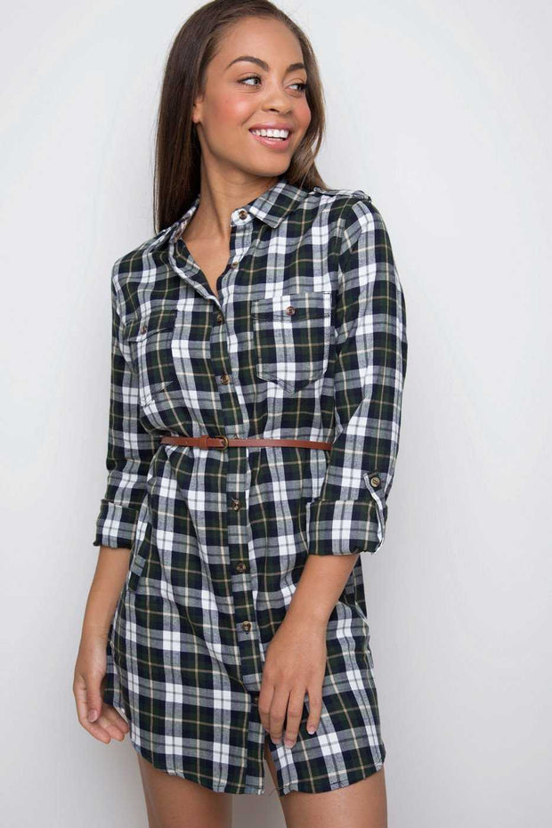 Dresses - Jennie Plaid Dress - Olive