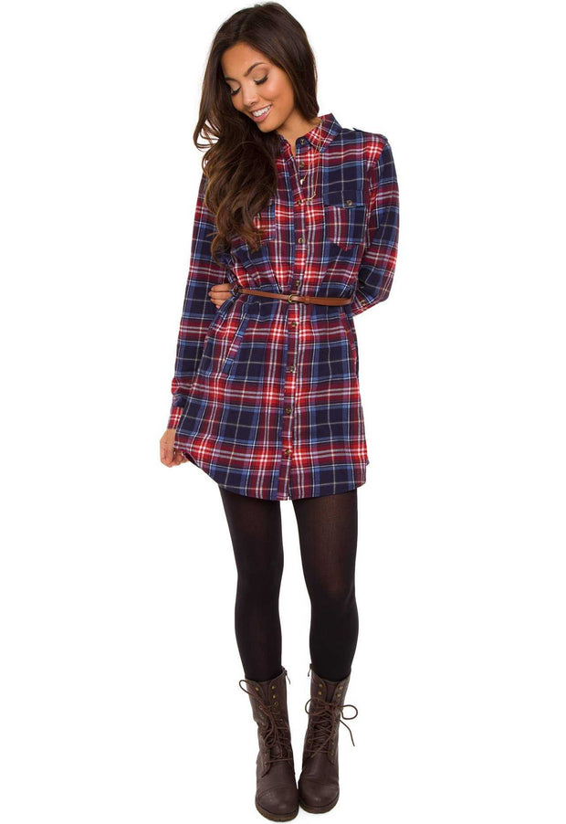 Dresses - Jennie Plaid Dress - Red