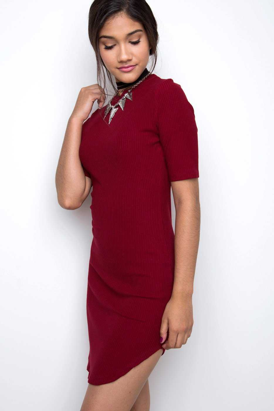 Dresses - Lala Ribbed Dress - Burgundy