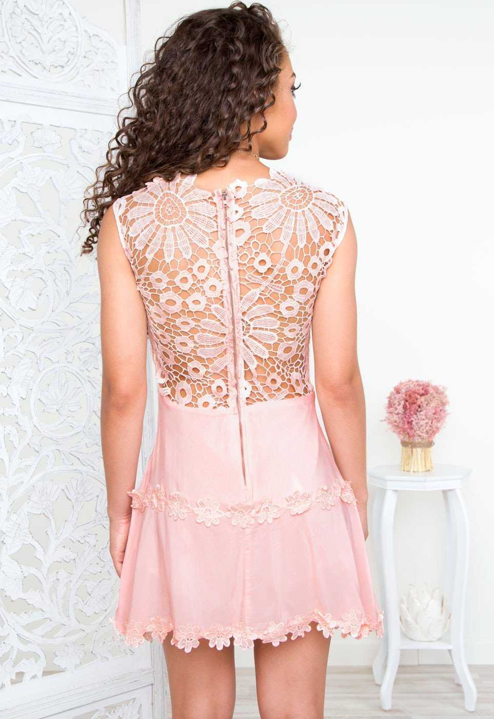 Lena Flower Lace Dress Blush By Priceless