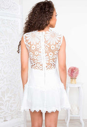 Dresses - Lena Flower Lace Dress - White