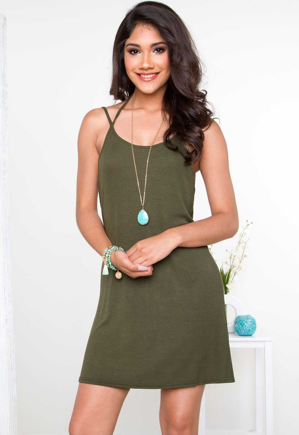 Dresses - Liv Basic Dress - Olive