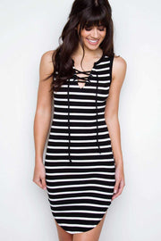 Dresses - Love Letters Striped Lace Up Dress - Black