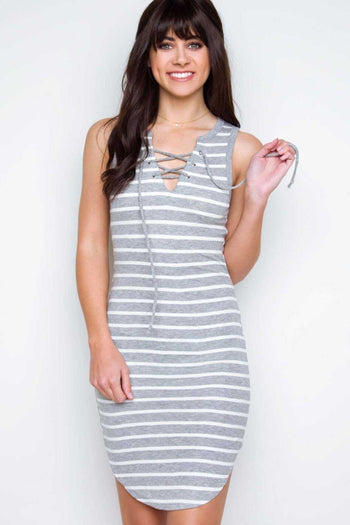 Dresses - Love Letters Striped Lace Up Dress - Gray