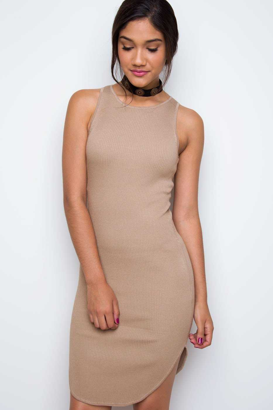 Dresses - Millie Ribbed Dress - Taupe