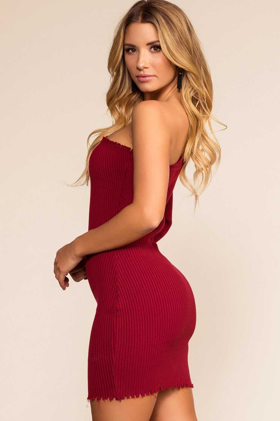 Dresses - Rib Me Right Dress - Burgundy