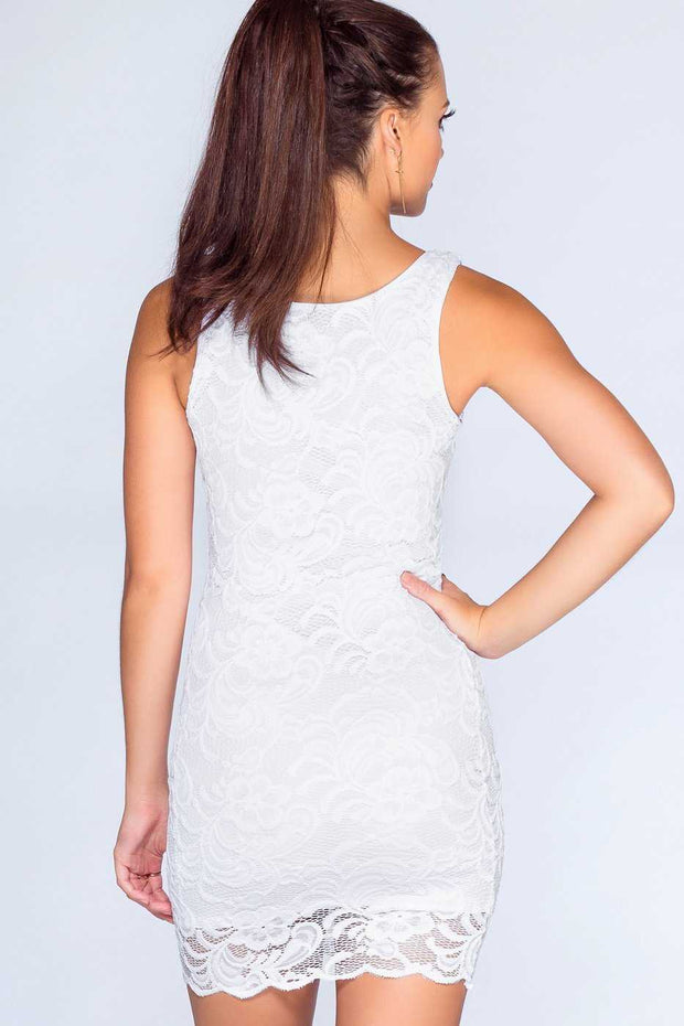 Dresses - Say No More Lace Dress - White