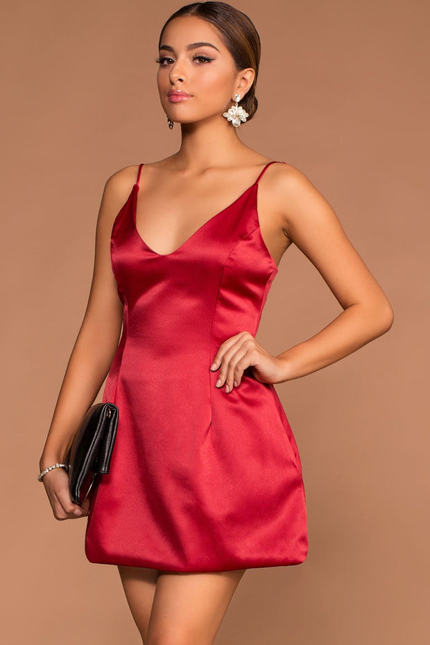 Dresses - Selena Red Satin Dress