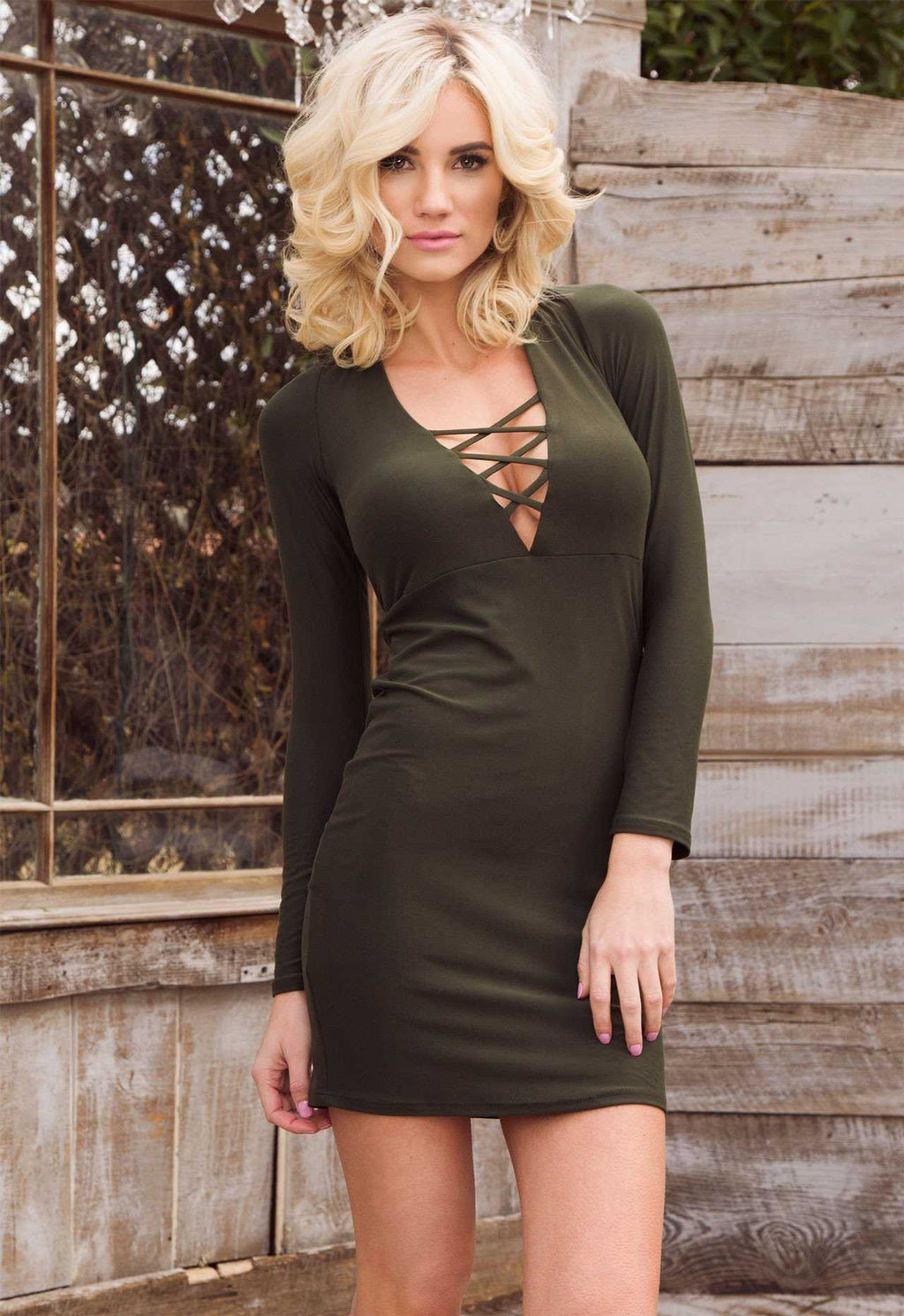 Dresses - Siren Lace Up Dress - Olive