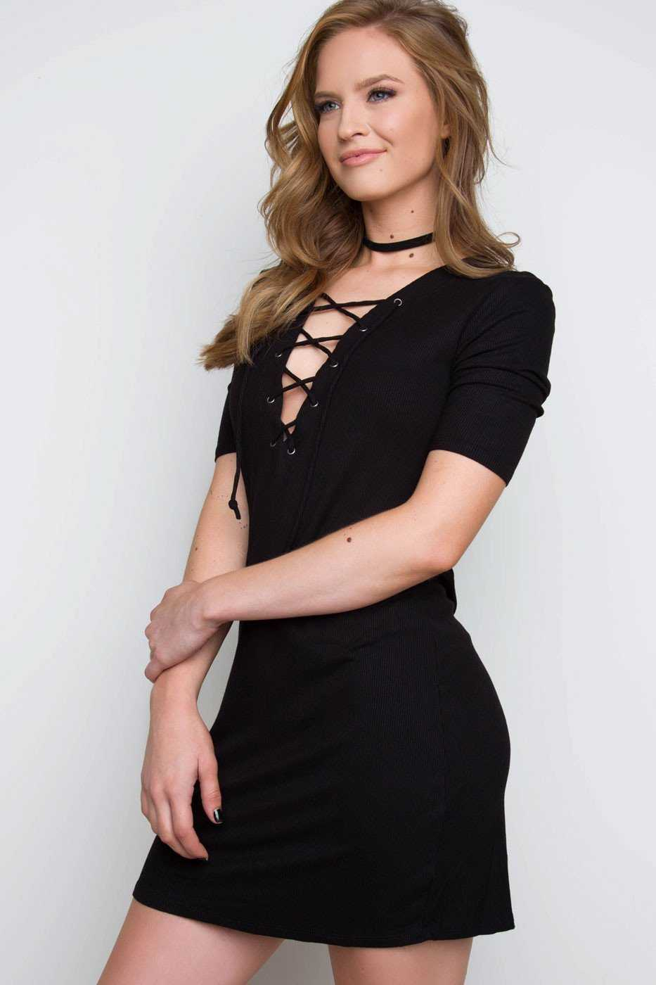 Dresses - Stevie Lace Up Dress - Black
