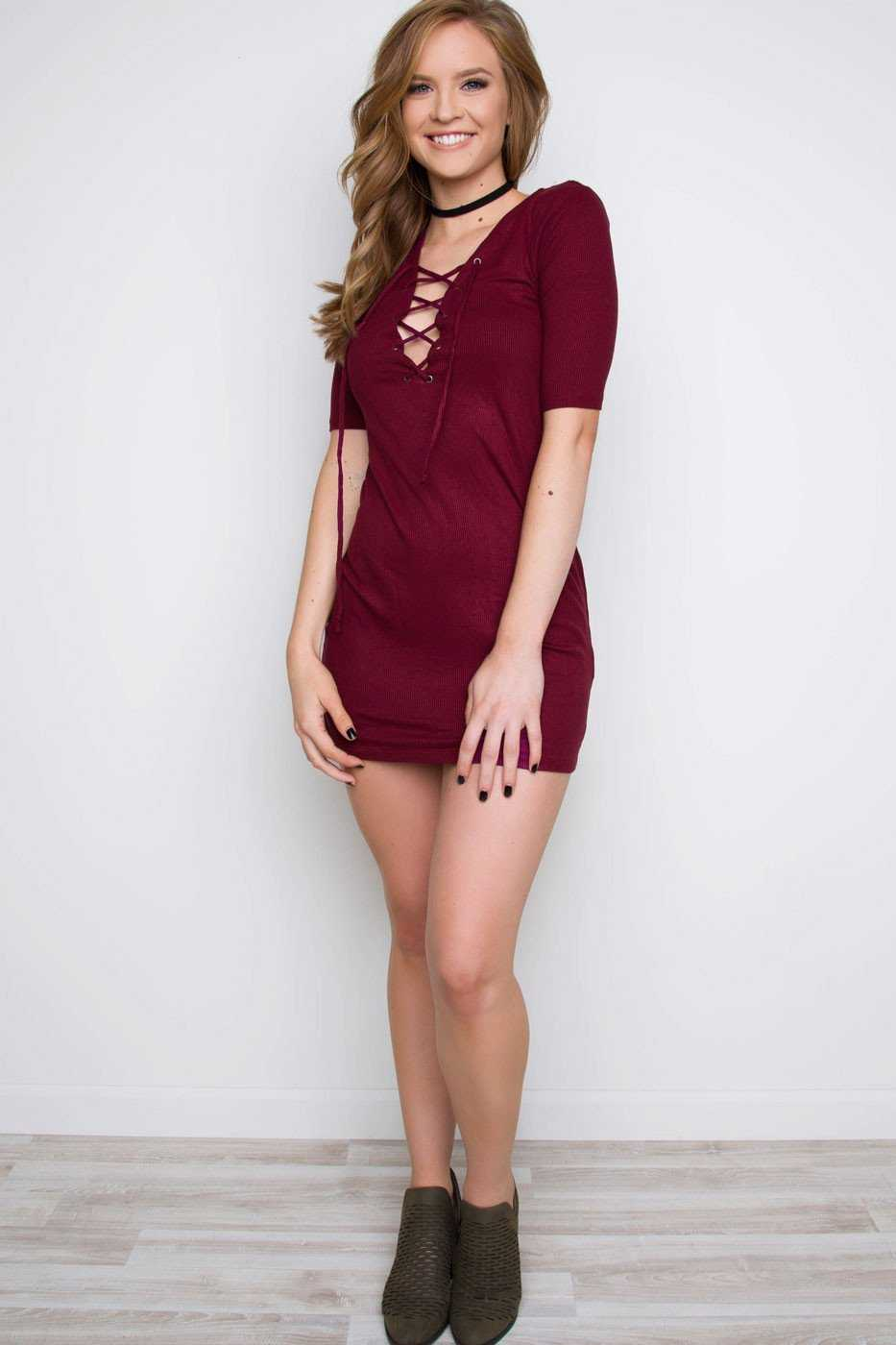 Dresses - Stevie Lace Up Dress - Maroon