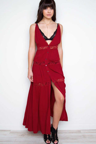 Catch Some Rays Red Embroidered Maxi Dress