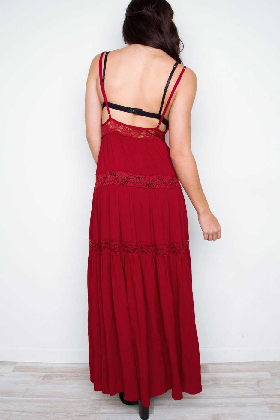 Dresses - Sunshine Soul Lace Maxi Dress - Burgundy