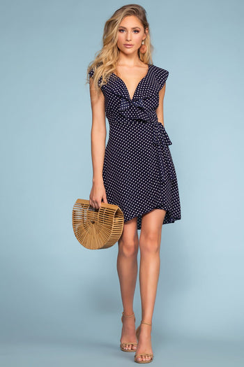 Dresses - Sweet Spot Polka Dot Wrap Dress - Navy