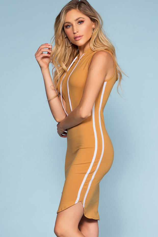 Dresses - Tamil Bodycon Track Dress - Camel