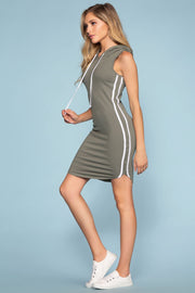 Dresses - Tamil Bodycon Track Dress - Sage