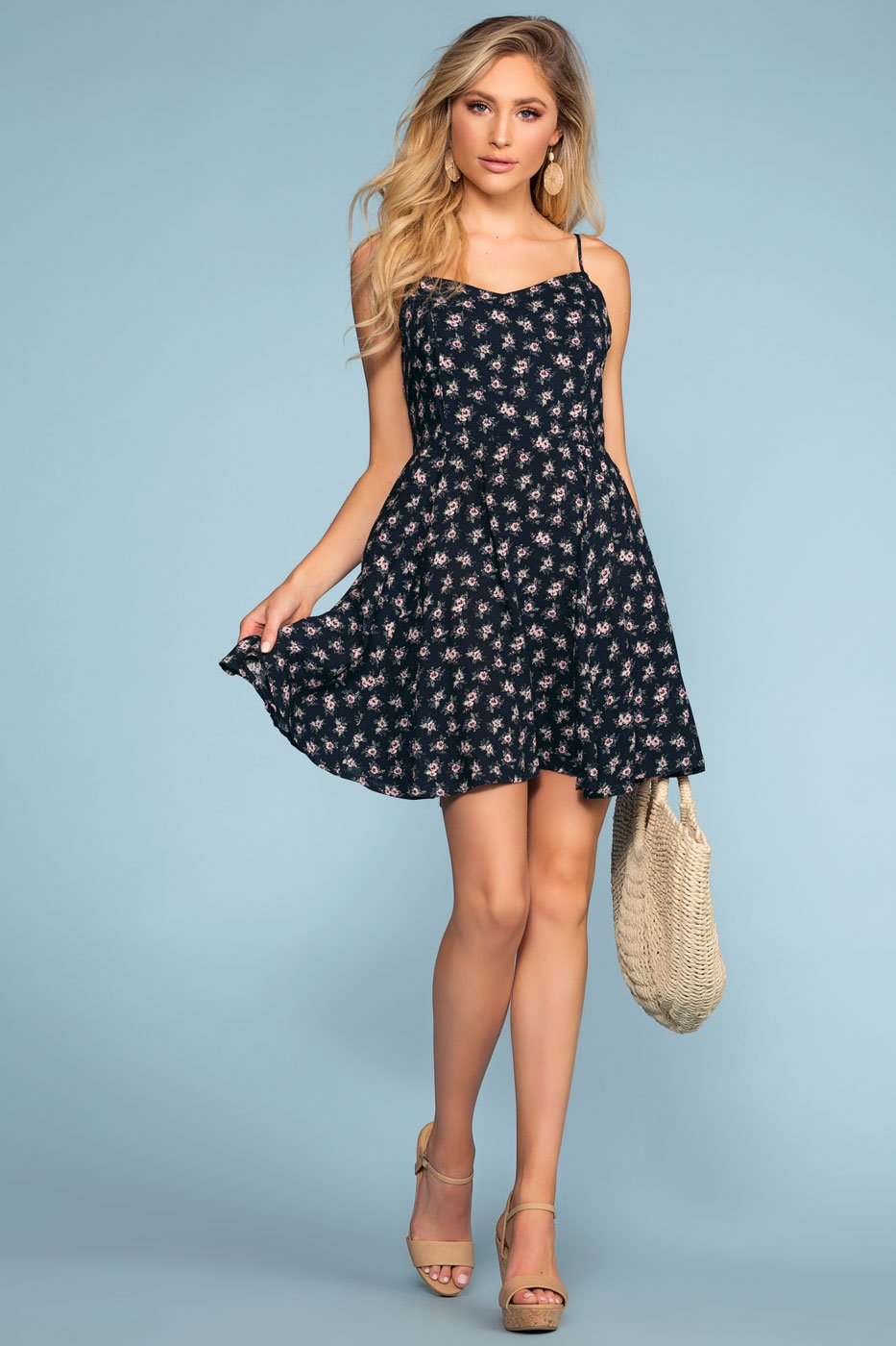 Dresses - Teagan Floral Dress - Navy