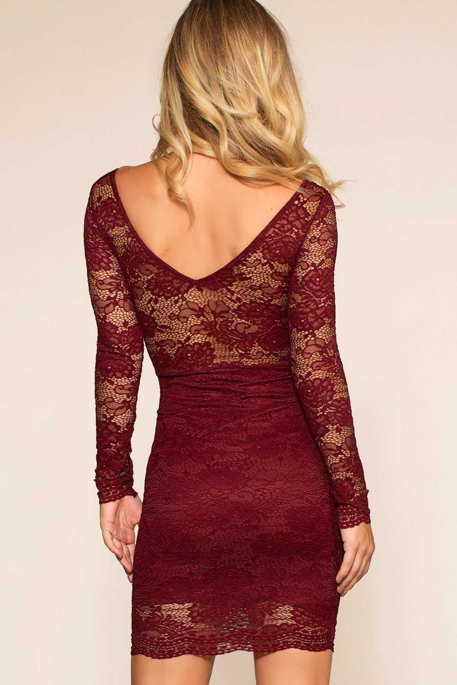 Dresses - Under The Mistletoe Dress - Burgundy