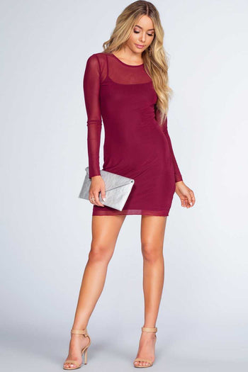 Dresses - Unforgettable Mesh Dress - Burgundy