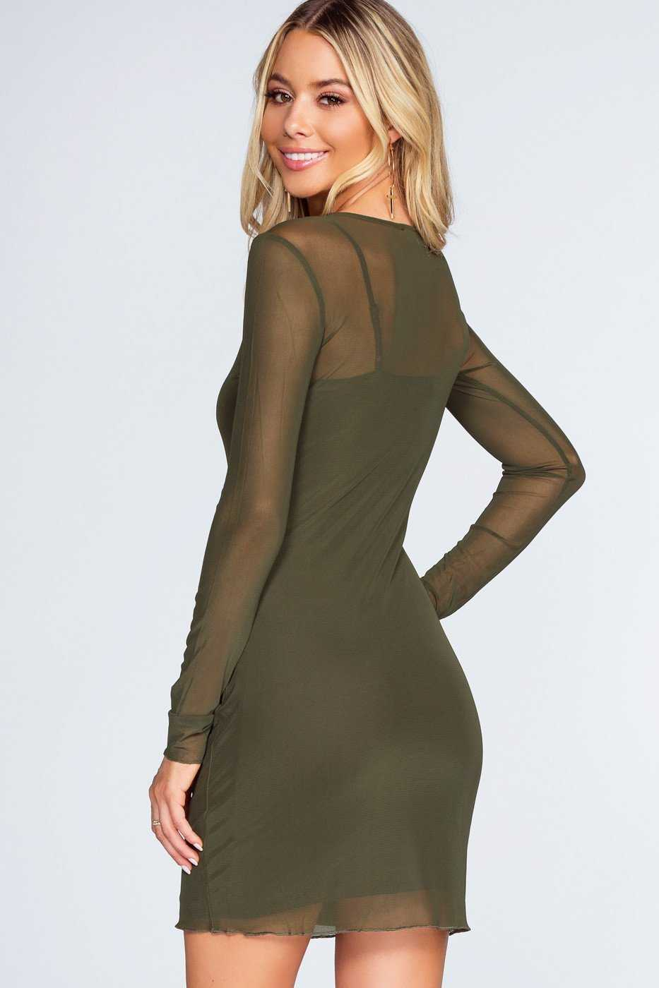 Unforgettable Mesh Dress Olive