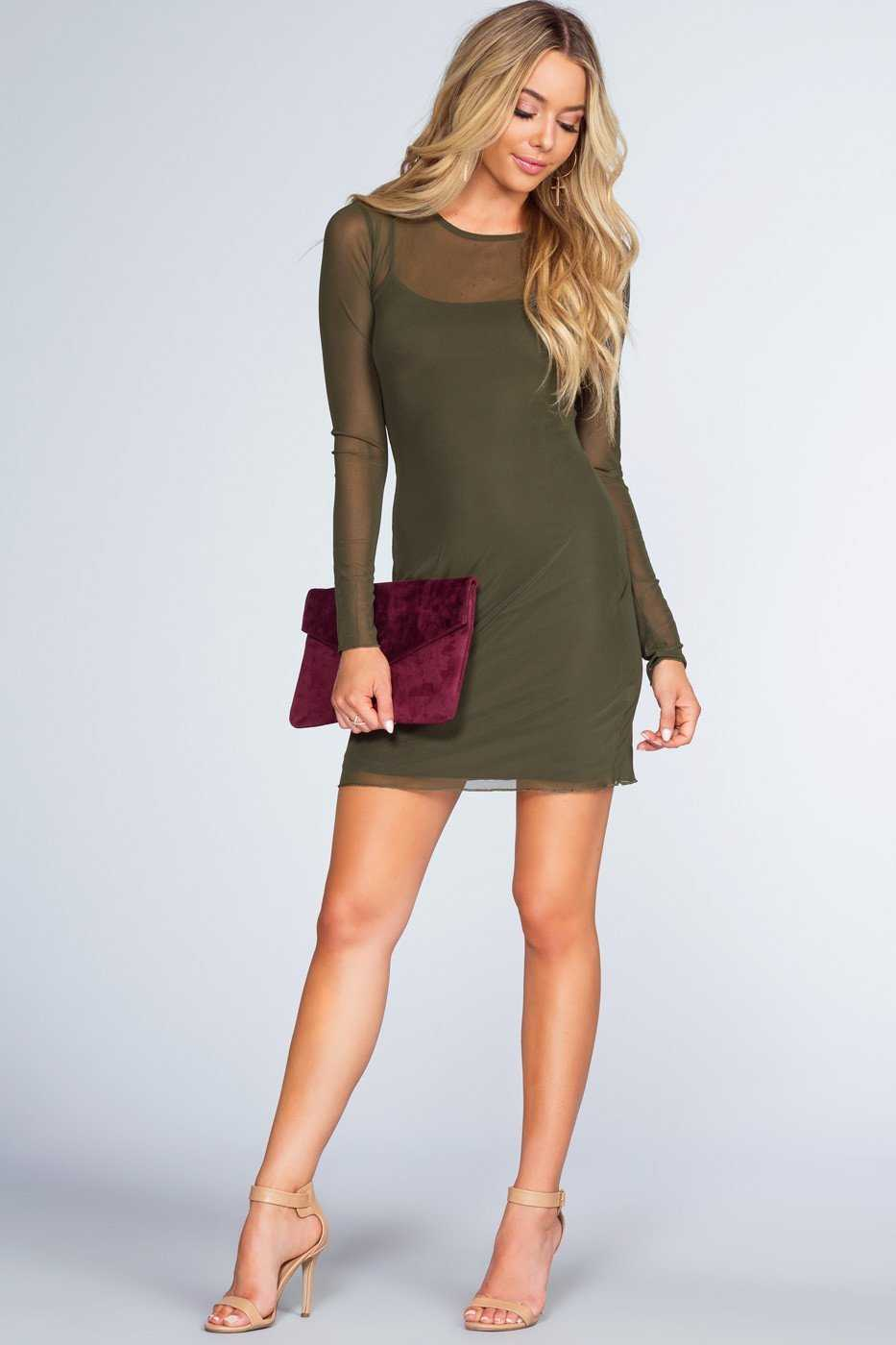 Dresses - Unforgettable Mesh Dress - Olive
