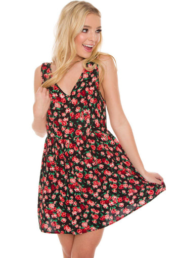 Dresses - Vera Floral Dress - Black