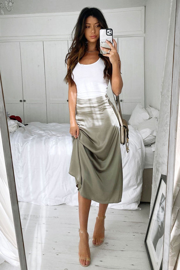Midsummer Dream Olive Satin Midi Skirt